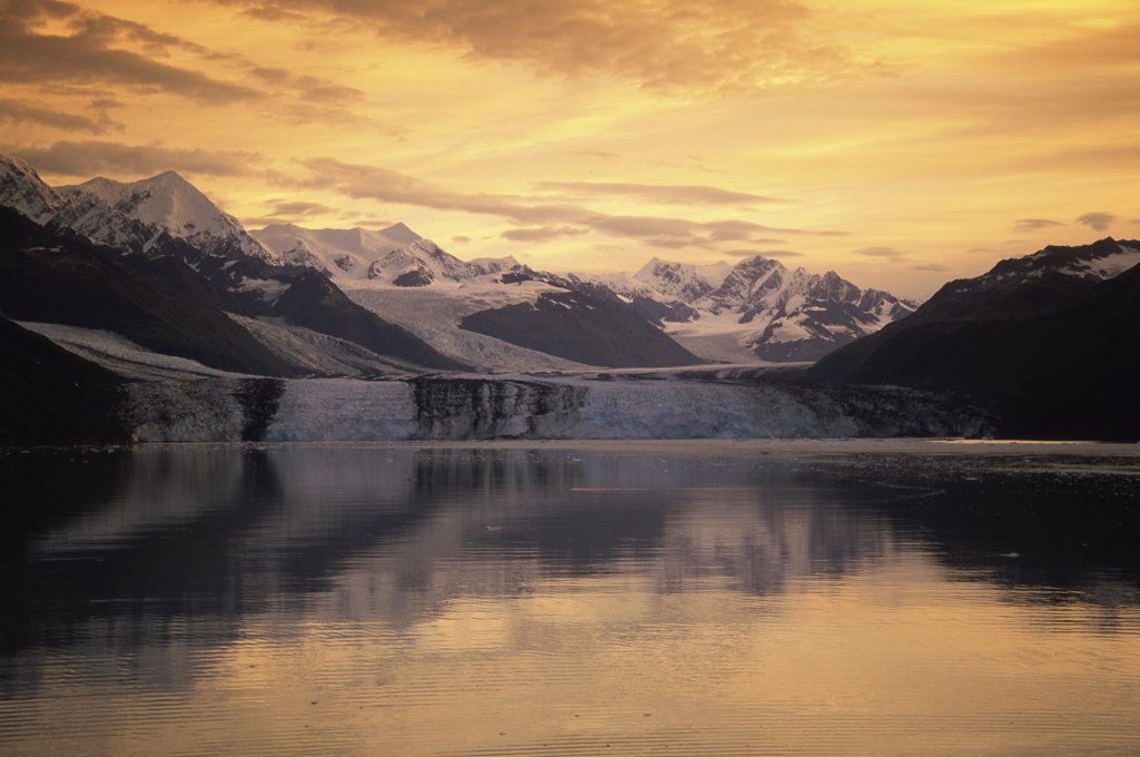 Stock Photo: 1486-8778 Reflection of a mountains in water, College Fjord, Alaska, USA