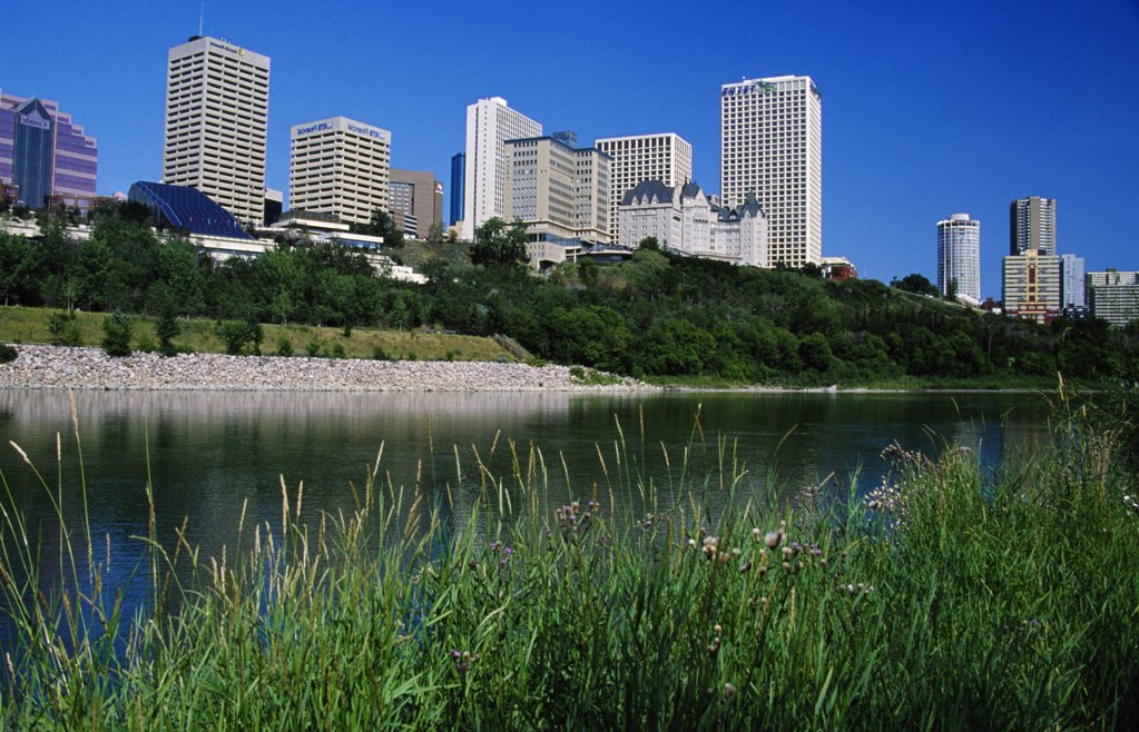Stock Photo: 1486-8801A Canada, Alberta, Edmonton, Skyscrapers over Saskatchewan River