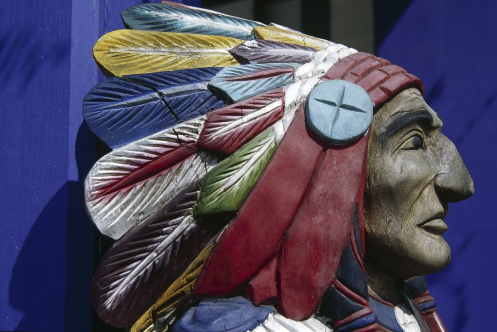 Close-up of a statue of Native American, George Town, Cayman Islands : Stock Photo