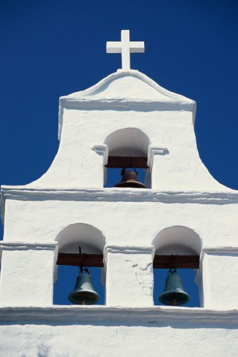 Stock Photo: 1486-9228 Bells on a church building, Mission San Diego de Alcala, San Diego, California, USA