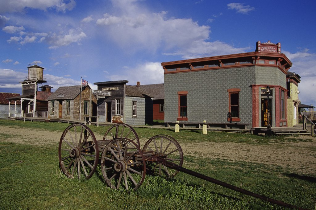 Buildings in a town, 1880 Town, South Dakota, USA : Stock Photo