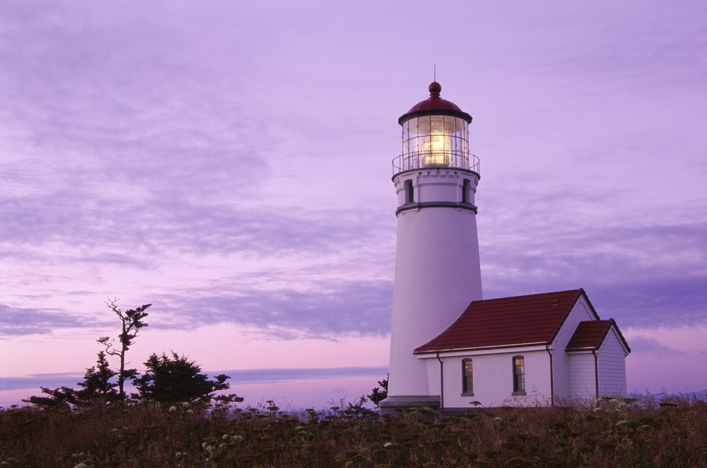 Stock Photo: 1486-9705 Low angle view of a lighthouse, Cape Blanco Lighthouse, Cape Blanco State Park, Oregon, USA
