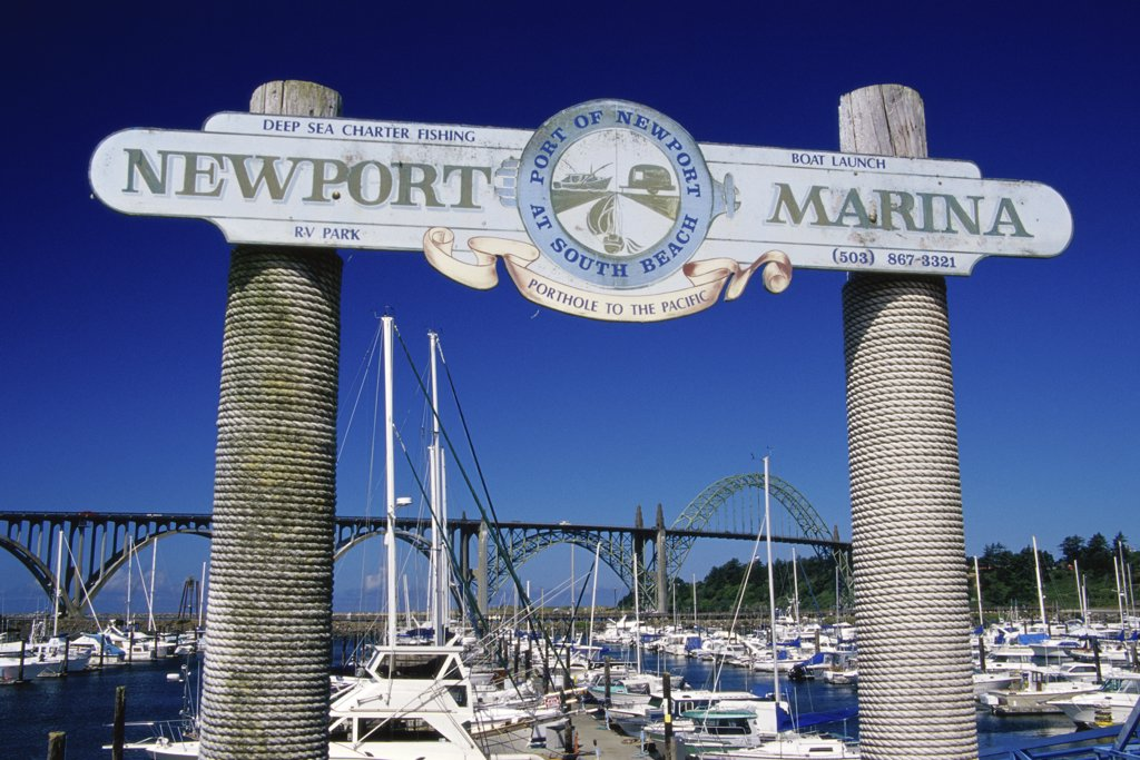 Stock Photo: 1486-9742 Low angle view of a sign at a harbor, Newport, Oregon, USA