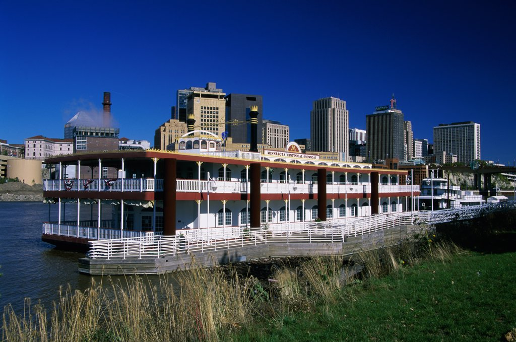 Ferry in the water, Minnesota Centennial Showboat, St. Paul, Minnesota, USA : Stock Photo