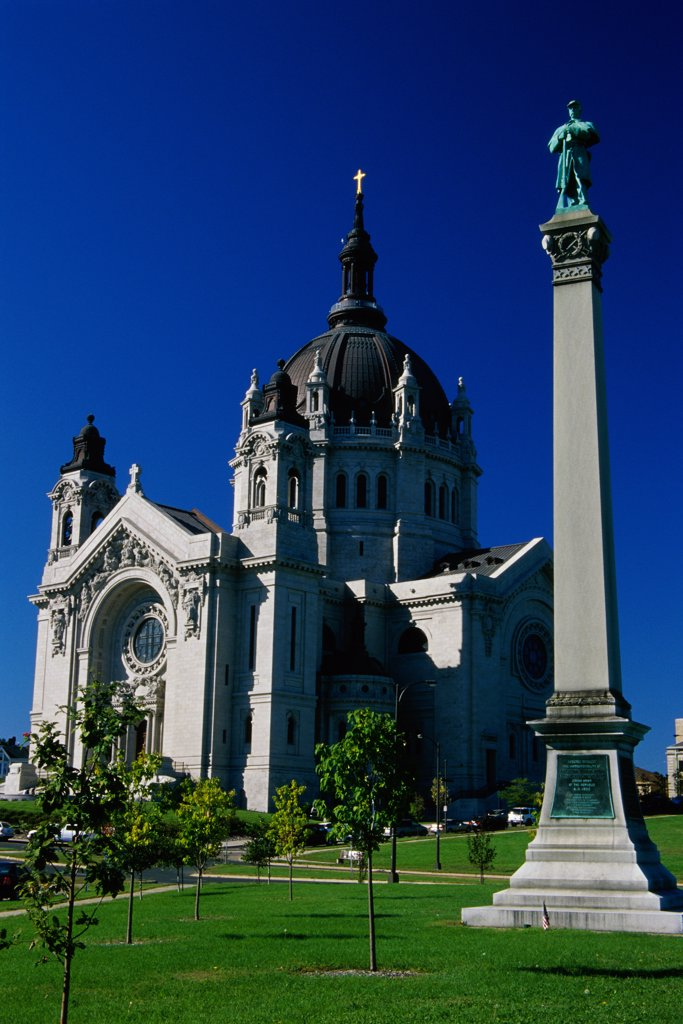Low angle view of a cathedral, St. Paul Cathedral, St. Paul, Minnesota, USA : Stock Photo