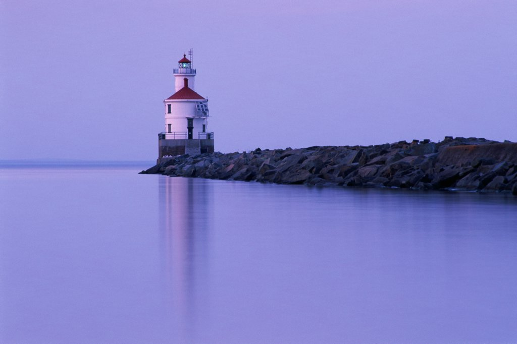 Lighthouse on the lakeside, Wisconsin Point Lighthouse, Superior, Wisconsin, USA : Stock Photo