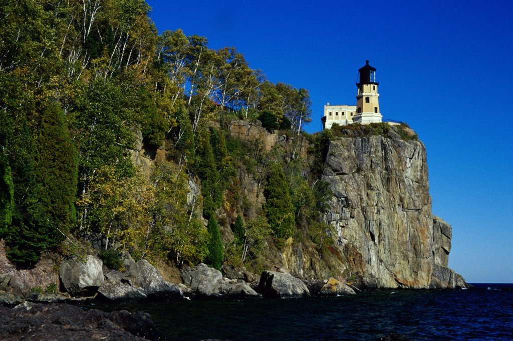 Low angle view of a lighthouse, Split Rock Lighthouse, Split Rock Lighthouse State Park, Minnesota, USA : Stock Photo