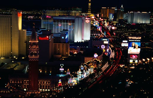 Buildings lit up at night in a city, Las Vegas, Nevada, USA : Stock Photo