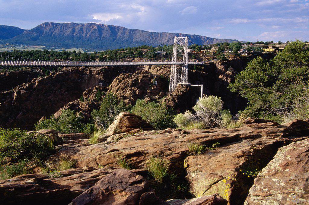 Stock Photo: 1486-9901 Suspension bridge over a valley, Royal Gorge Bridge, Canon City, Colorado, USA