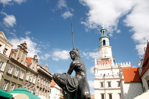 Statue in front of Old Town Hall, Old Town Square, Poznan, Poland : Stock Photo