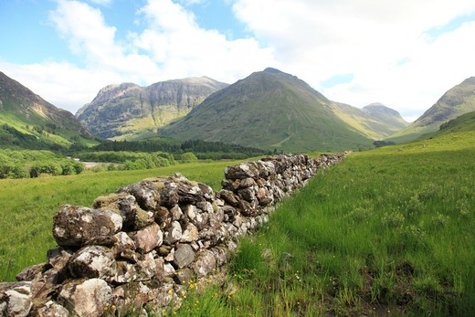 Stone wall in a field, Glencoe, Highlands Region, Scotland : Stock Photo