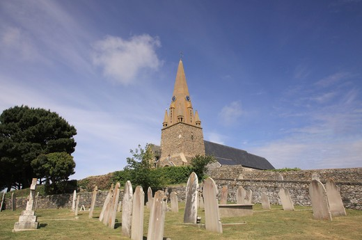 Stock Photo: 1488-1131 UK, Channel Islands, Guernsey, Church and Graveyard