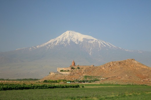 Stock Photo: 1488-1240 Armenia, Khor Vinap Monastery on Border with Turkey and Mt. Ararat on Turkish Side