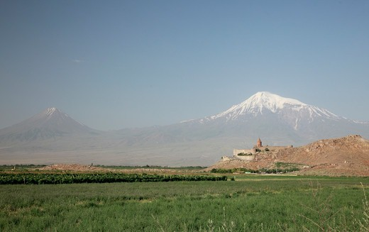 Stock Photo: 1488-1241 Armenia, Khor Vinap Monastery on Border with Turkey and Mt. Ararat on Turkish Side