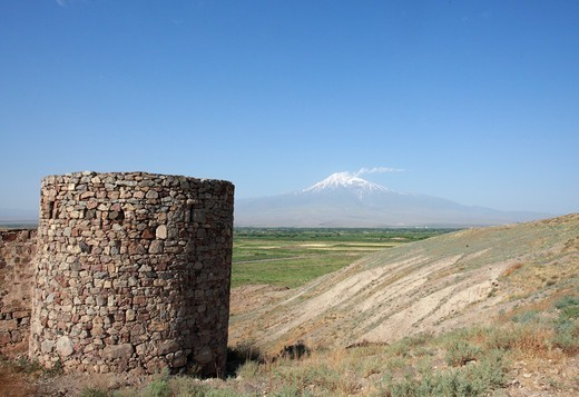 Stock Photo: 1488-1246 Armenia, Defensive Tower of Khor Vinap Monastery and Mt. Ararat