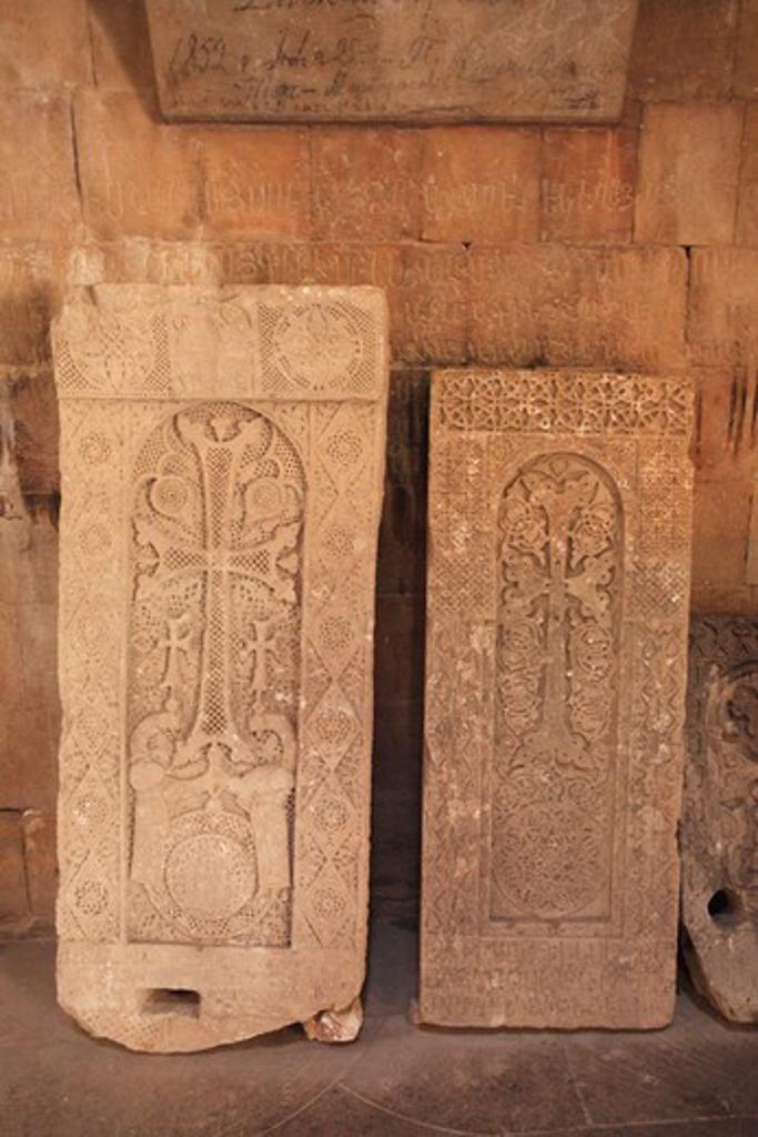 Stock Photo: 1488-1250 Armenia, Stone Crosses Inside Noravank Church