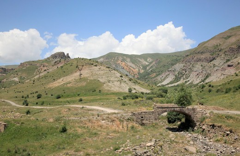 Stock Photo: 1488-1253 Armenia, Central Armenian Mountain Scene and ancient bridge