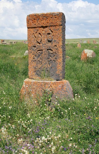 Armenia, Lake Sevan, Noradus, Stone Cross in meadow : Stock Photo
