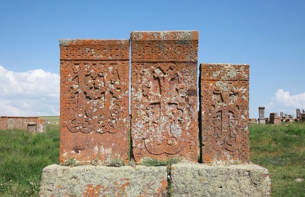 Stock Photo: 1488-1257 Armenia, Lake Sevan, Noradus, Stone Crosses