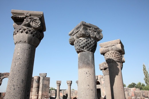 Stock Photo: 1488-1262 Armenia, near Yerevan, Zvantnots Cathedral Ruins