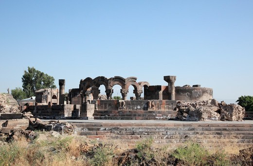 Stock Photo: 1488-1263 Armenia, near Yerevan, Zvantnots Cathedral Ruins