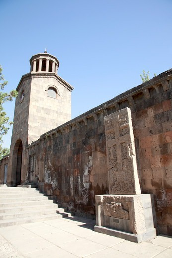Stock Photo: 1488-1267 Armenia, Echmiadzin Cathedral, Wall and Stone Cross