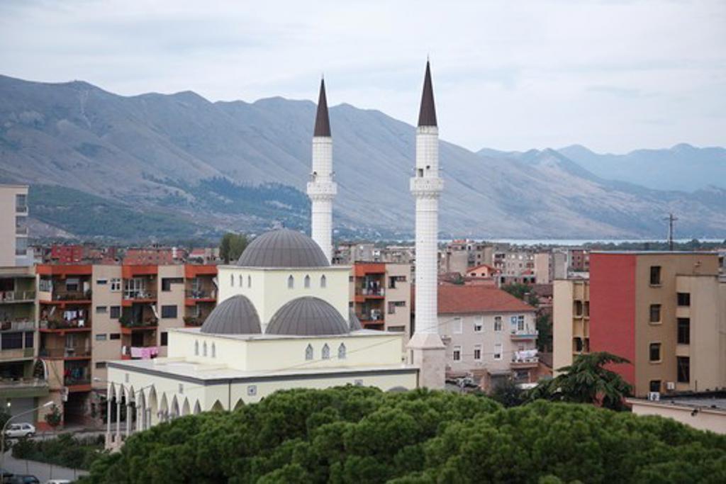 Albania, Minaret in town : Stock Photo