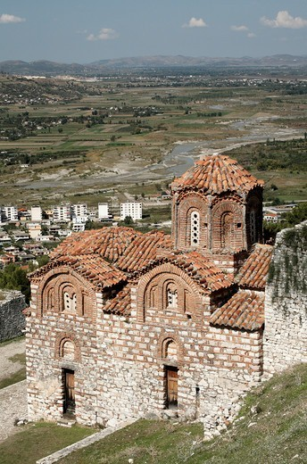 Albania, Berat, Byzantine Church in Fortress above city : Stock Photo