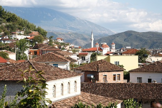 Stock Photo: 1488-1318 Albania, Berat, View of new city