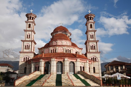Albania, Korca, Modern Cathedral : Stock Photo
