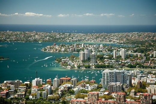 Stock Photo: 1488-1324 Australia, Sydney, View of Elizabeth Bay and Darling Point from Sydney Tower