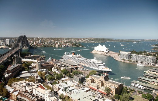 Australia, Sydney, Harbour with Queen Victoria in Dock : Stock Photo