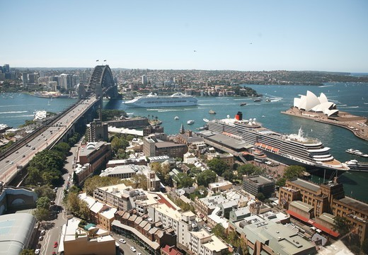 Australia, Sydney, Cruise-ship Passing under Sydney Harbour Bridge : Stock Photo