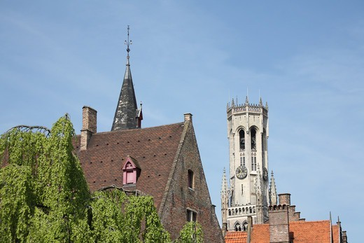 Stock Photo: 1488-1443 Belgium, Bruges, Medieval Bell-tower (or Belfry) in Market Square