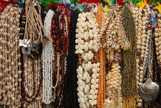 Bead craft products at a market stall, Tahiti, French Polynesia : Stock Photo
