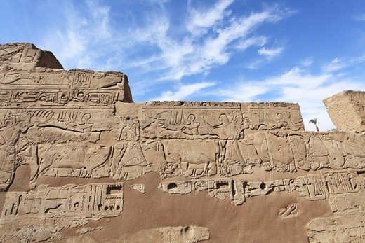 Wall with hieroglyphics, Temples of Karnak, Luxor, Egypt : Stock Photo