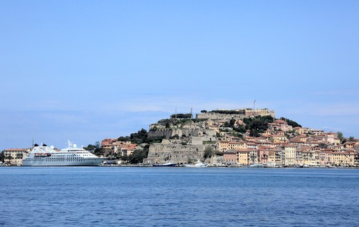 Town and castle on an island, Portoferraio, Livorno, Island of Elba, Italy : Stock Photo