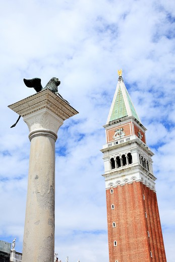 Italy, Venice, Bell-tower of St Mark's and Monument of Winged Lion of St Mark's : Stock Photo
