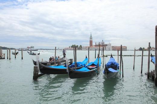 Stock Photo: 1488-609 Italy, Venice, Gondolas on lagoon with Church of San Georgio di Maggiori in background