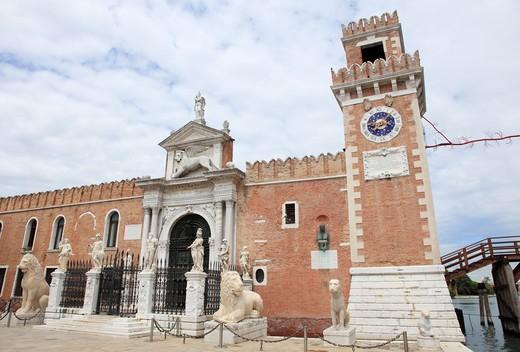 Italy, Venice, Entrance to Venice Naval Academy : Stock Photo