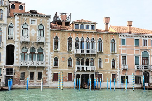Italy, Venice, Buildings along Grand Canal : Stock Photo