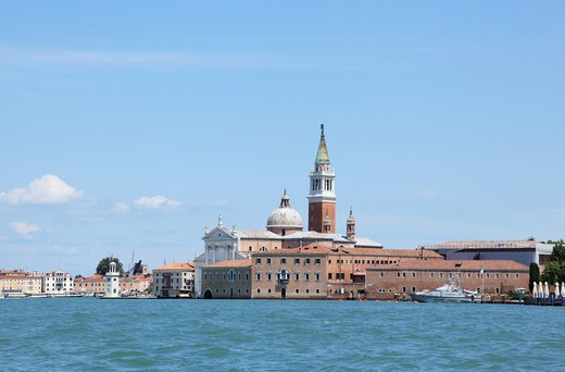 Italy, Venice, San Georgio Maggiore Island, View from Santa Maria della Salute Church at Entrance of Grand Canal : Stock Photo