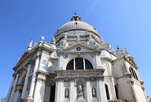 Italy, Venice, Santa Maria della Salute Church at Entrance of Grand Canal : Stock Photo
