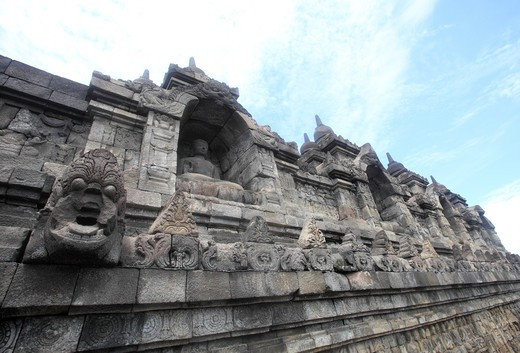 Stock Photo: 1488-695 Low angle view of a Buddhist temple, Borobudur Temple, Java, Indonesia