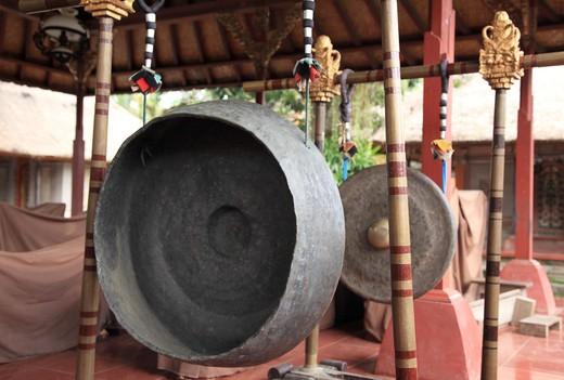 Gongs in the Ubud Palace, Ubud, Bali, Indonesia : Stock Photo