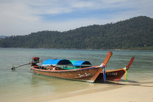 Stock Photo: 1488-734 Longtail boat on the beach, Porn Beach, Butang Islands, Thailand