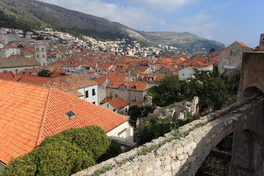 Houses in a city, Mt Srd, Dubrovnik, Dalmatia, Croatia : Stock Photo