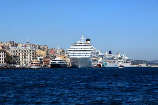 Cruise ship at a harbor, Golden Horn, Istanbul, Turkey : Stock Photo