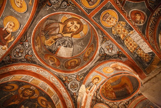 Fresco details on the ceiling of Karanlik Kilise church, Goreme, Cappadocia, Central Anatolia, Turkey : Stock Photo