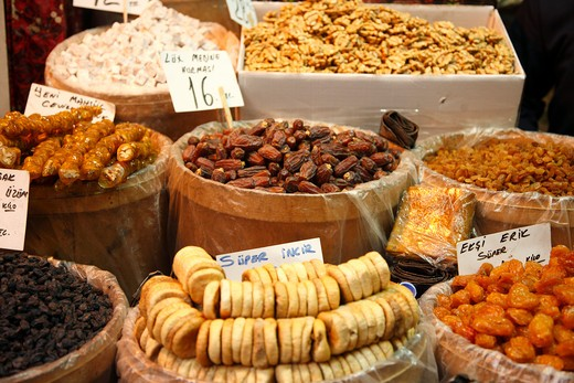 Stock Photo: 1488-844 Dry fruits for sale at a market stall, Grand Bazaar, Istanbul, Turkey